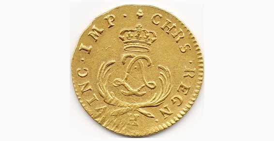 France Louis XV 1715-1774, Louis d'or, Mirliton aux palmes courtes