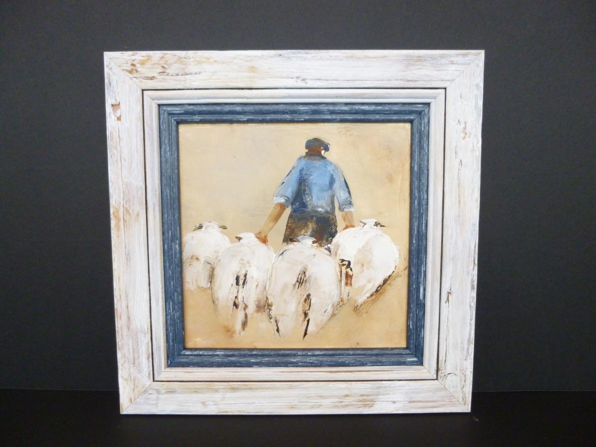 Peinture berger et montons