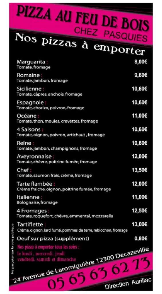 Carte des pizzas de la Pizzeria de la Vitarelle en Aveyron