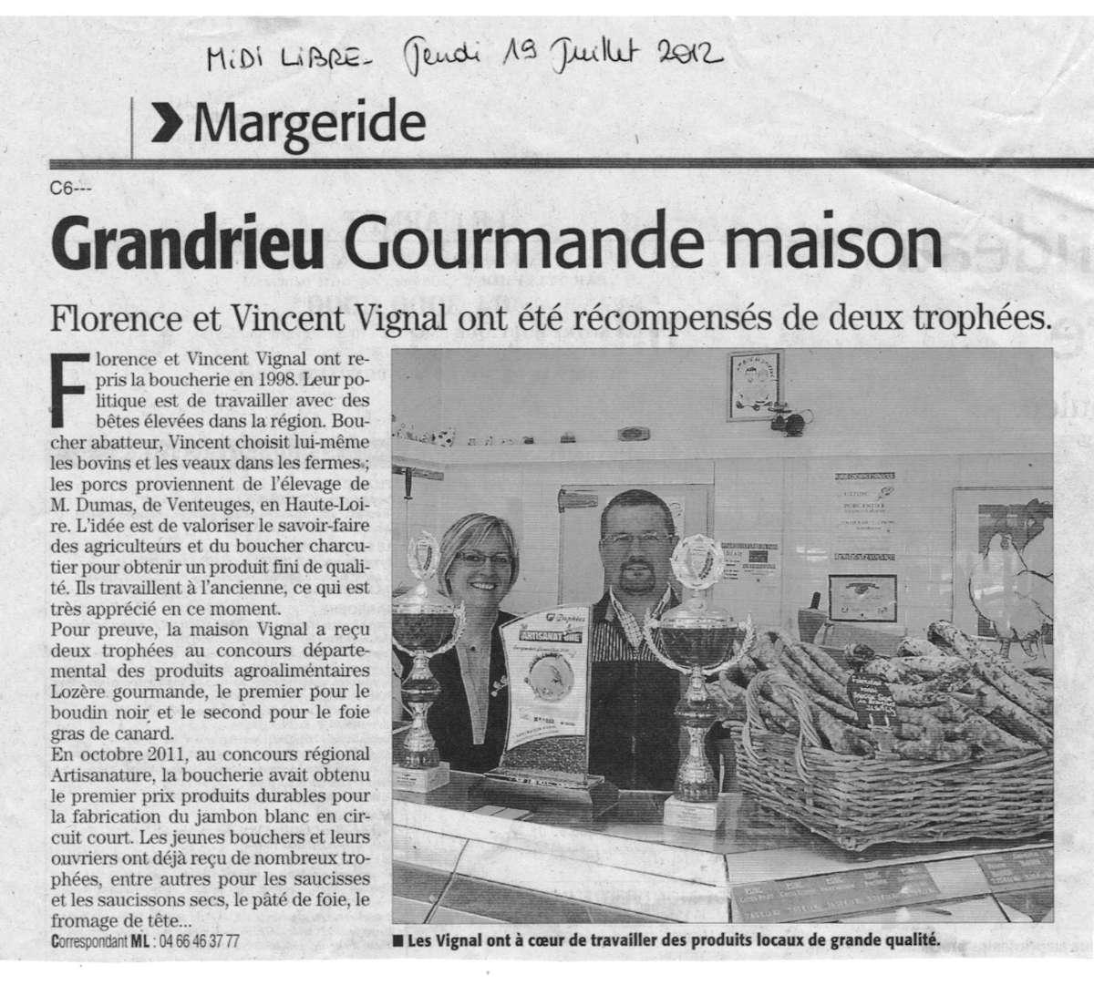 Article de presse Midi Libre en 2012 de la boucherie charcuterie traiteur artisanal Maison Vignal à Grandrieu (48)